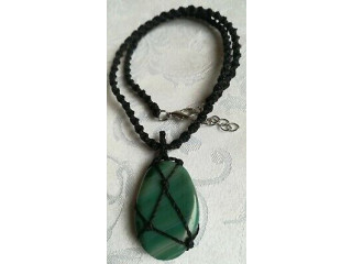 Green Agate necklace, spiral Macramé processing