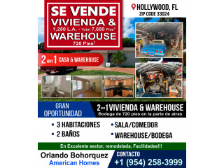 Se vende casa  & warehouse de 720 pies 2 en 1